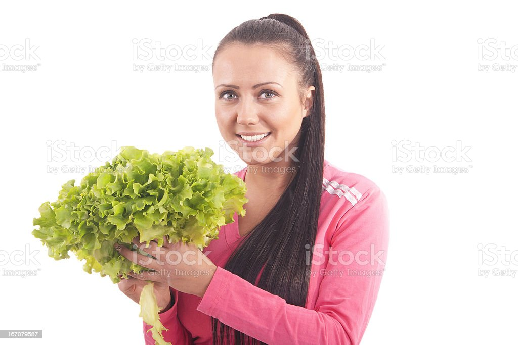 pretty girl with salad stock photo