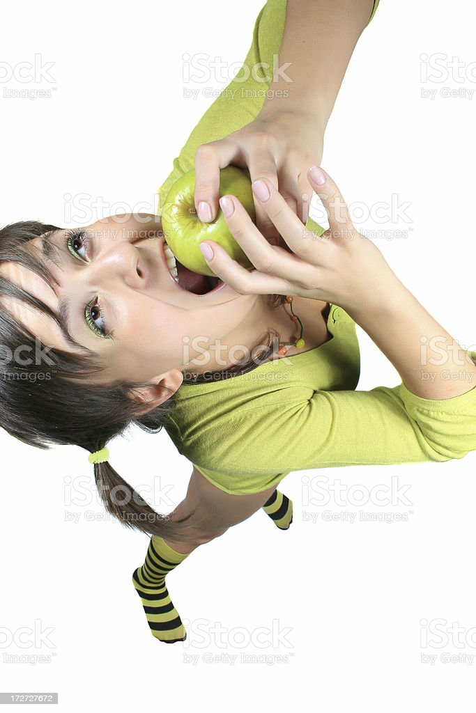 Pretty girl with the green apple royalty-free stock photo