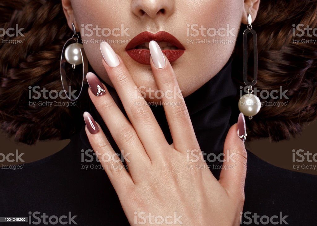 Pretty Girl With Unusual Hairstyle Bright Makeup Red Lips And