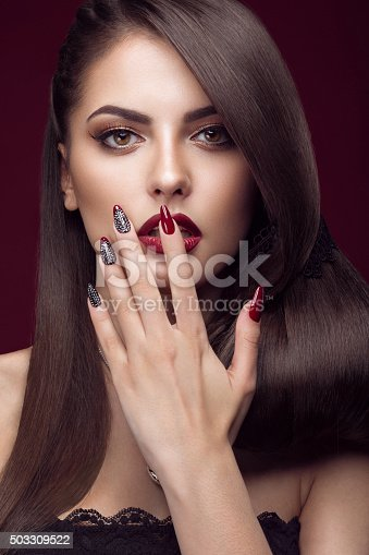 Pretty Girl With Unusual Hairstyle Bright Makeup Red Lips