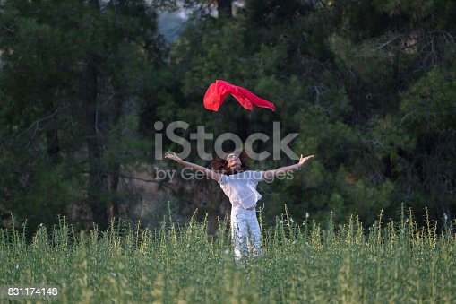 521982322 istock photo Pretty Happy women relaxing and dancing on a grass 831174148