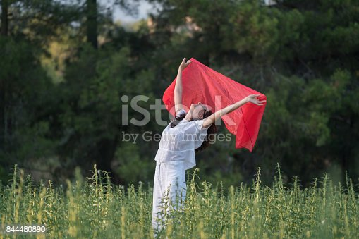 521982322 istock photo Pretty Happy women relaxing and dancing on a grass 844480890