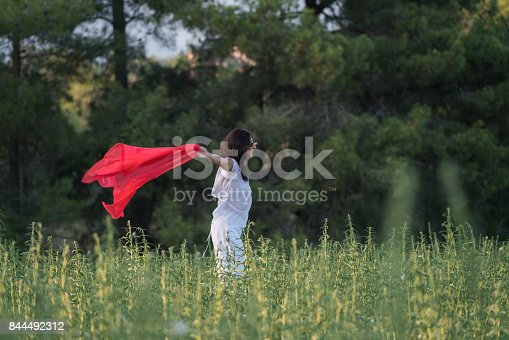 521982322 istock photo Pretty Happy women relaxing and dancing on a grass 844492312