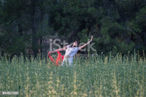 521982322 istock photo Pretty Happy women relaxing and dancing on a grass 844507590
