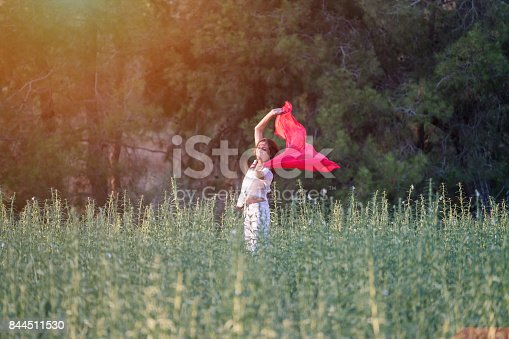 521982322 istock photo Pretty Happy women relaxing and dancing on a grass 844511530