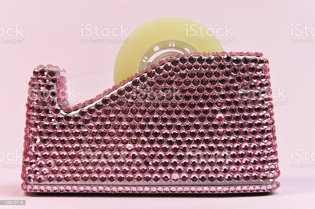 Pretty in Pink bling office accessory tape dispenser stock photo