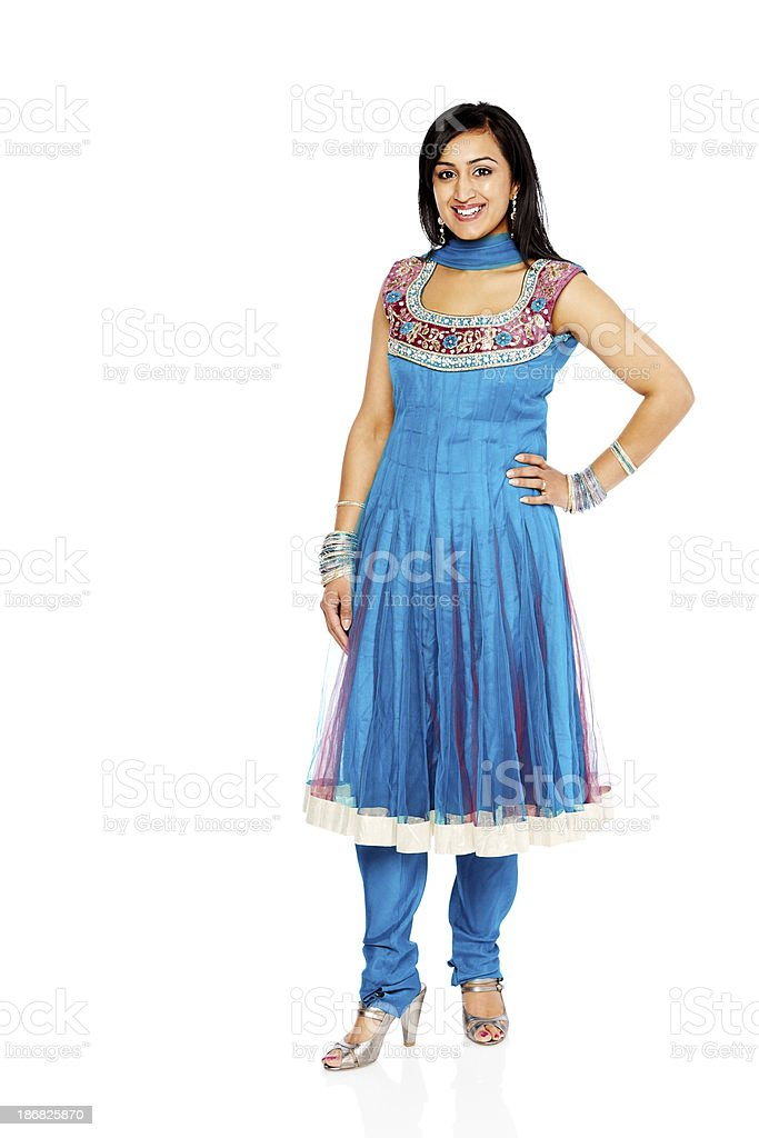 Pretty Indian woman posing on white background stock photo