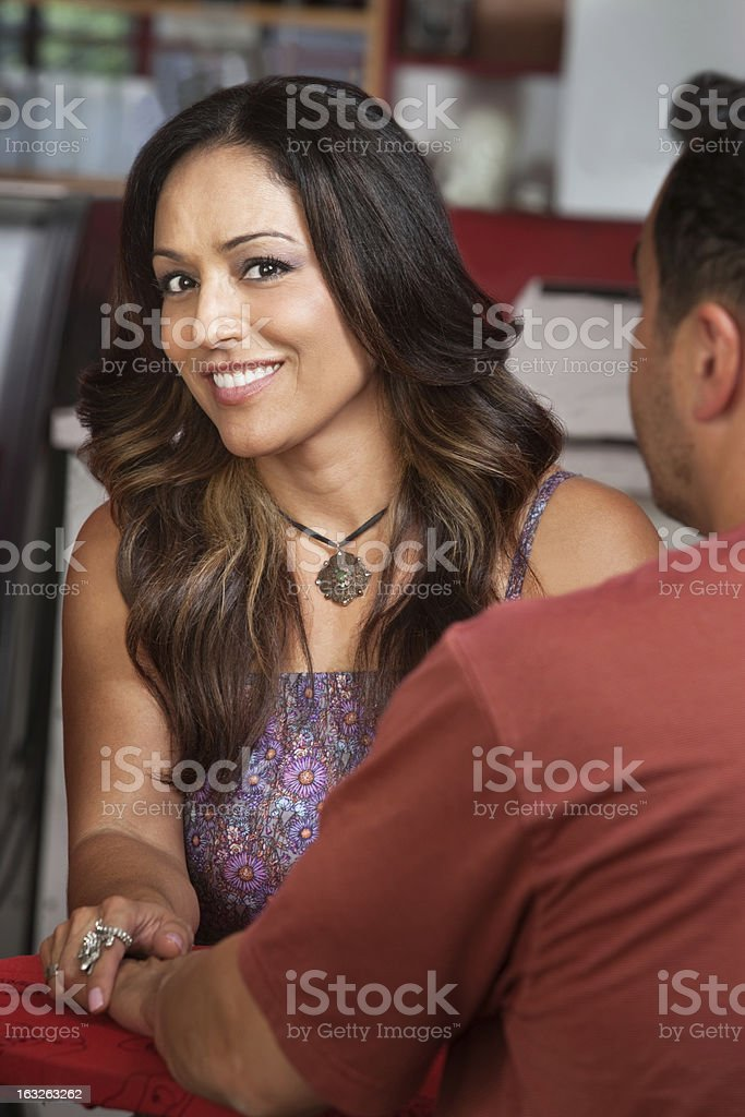 Pretty Lady Holding Man's Hand royalty-free stock photo