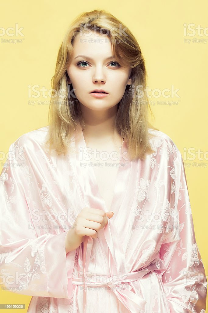 Pretty Lady In Dressing Gown stock photo | iStock