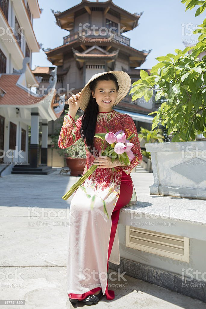 Pretty lady in temple royalty-free stock photo