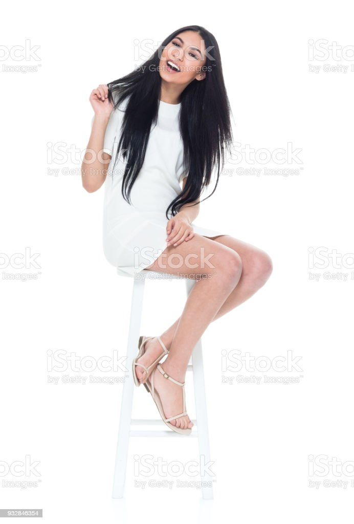 Remarkable Pretty Lady Sitting On White Stool Stock Photo Download Lamtechconsult Wood Chair Design Ideas Lamtechconsultcom