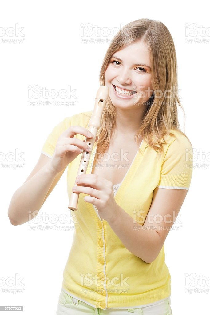 Pretty laughing girl with horn royalty-free stock photo