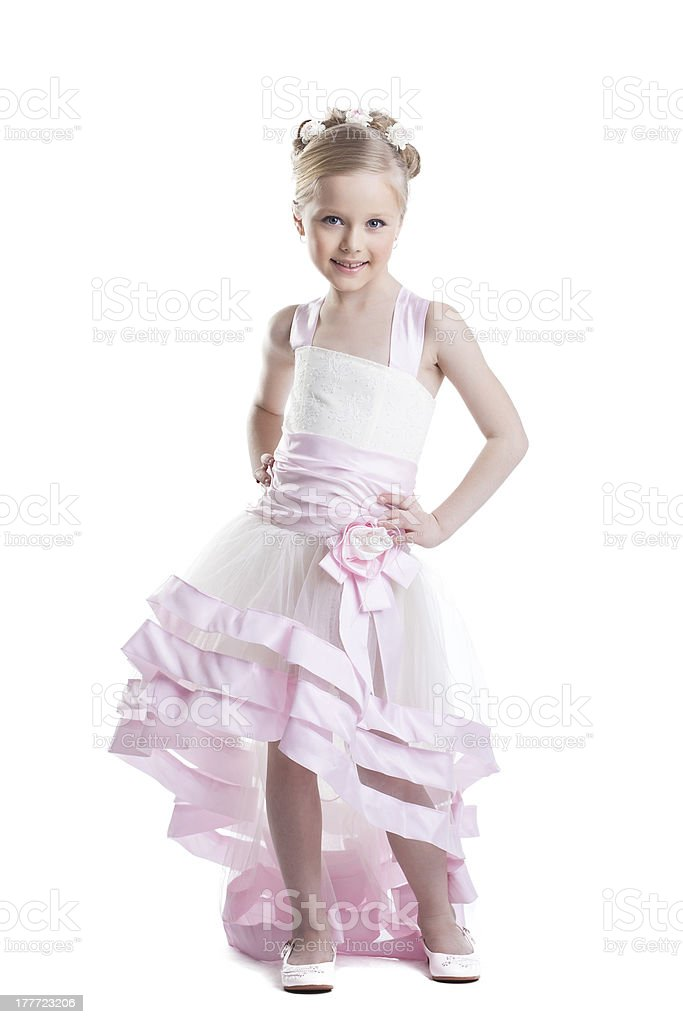 Pretty little girl in beautiful dress isoloated royalty-free stock photo