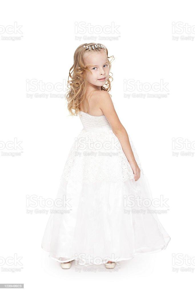 Photo Libre De Droit De Jolie Petite Fille Dans Une Belle Robe Blanche Banque D Images Et Plus D Images Libres De Droit De Beaute Istock