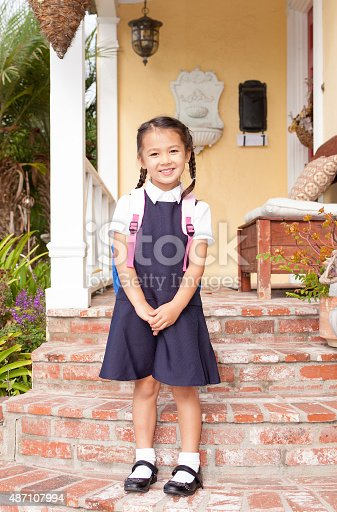 istock Pretty little girl ready for first day at school 487107994