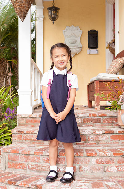 Pretty little girl ready for first day at school stock photo