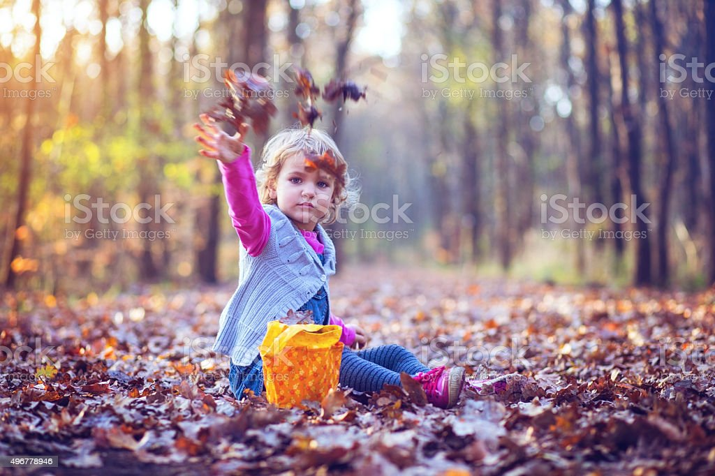 Pretty little girl throwing autumn leaves stock photo