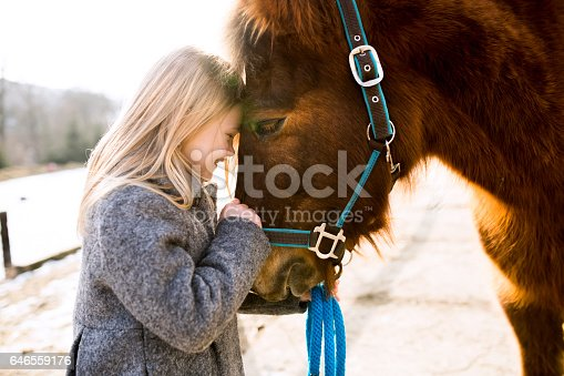 Pretty little blond girl in gray coat with horse on sunny winter day.