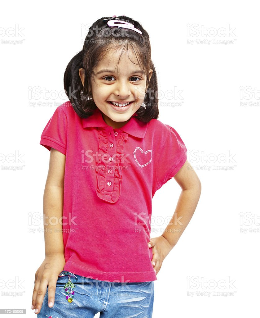 Pretty Little Indian Girl Isolated on White royalty-free stock photo