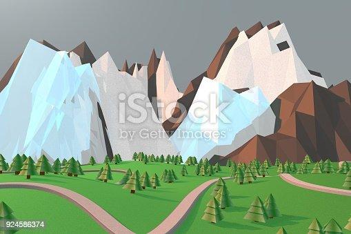 istock Pretty low poly mountain scene 924586374