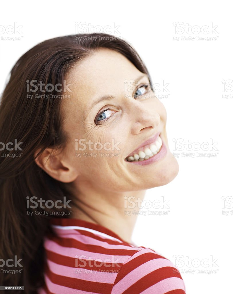 Pretty mature female smiling on white backgorund royalty-free stock photo