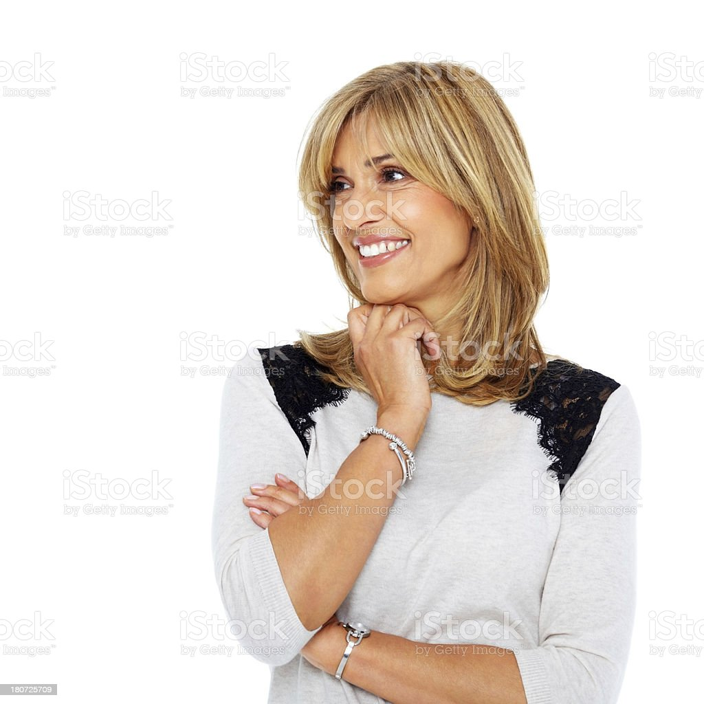 Pretty mature woman looking at copyspace royalty-free stock photo