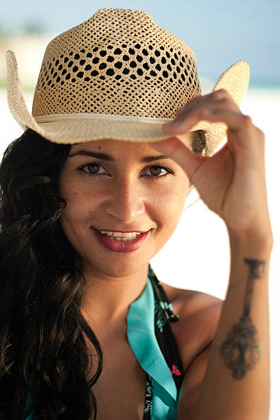 Pretty mexican woman smiling stock photo