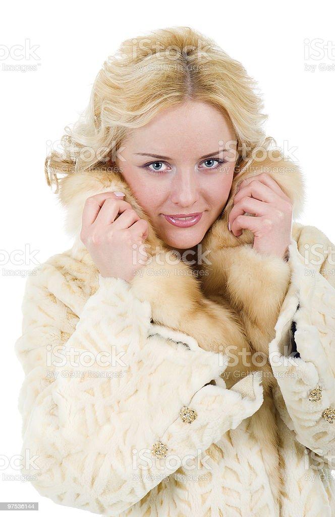 pretty model wearing fur coat royalty-free stock photo
