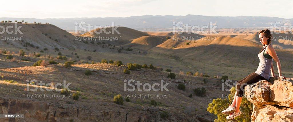 Pretty Native American Girl in Desert Pano royalty-free stock photo