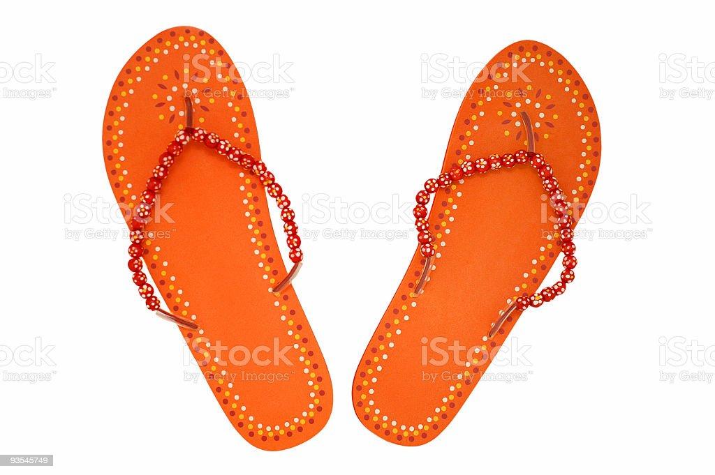 Pretty Orange Sandals royalty-free stock photo
