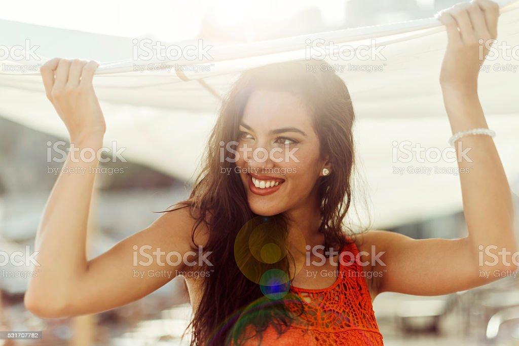 Pretty passionate woman stock photo