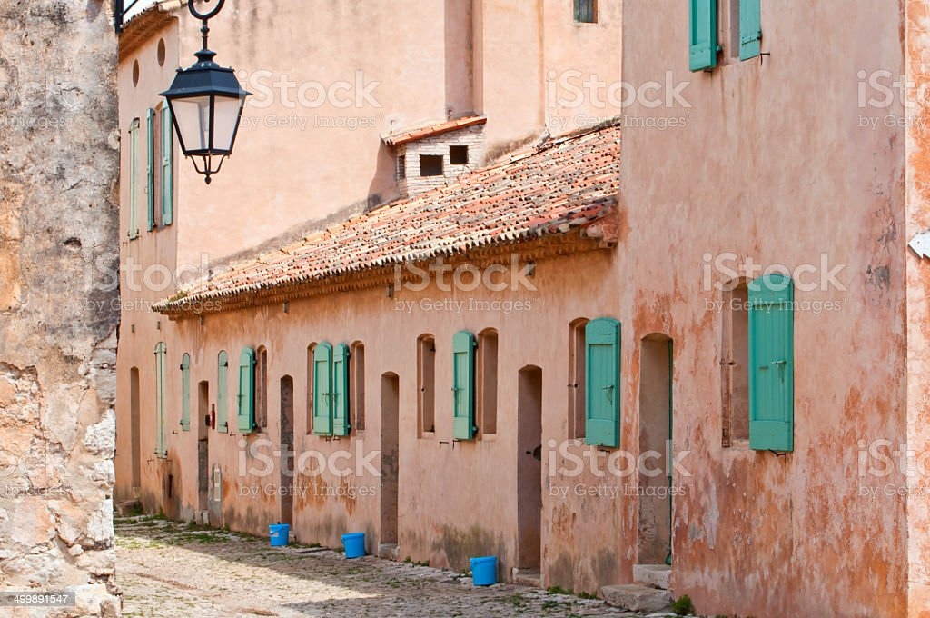 Pretty pink building in the south of France stock photo