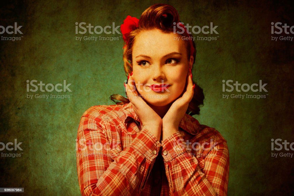 Pretty pinup girl in retro vintage 50's style stock photo