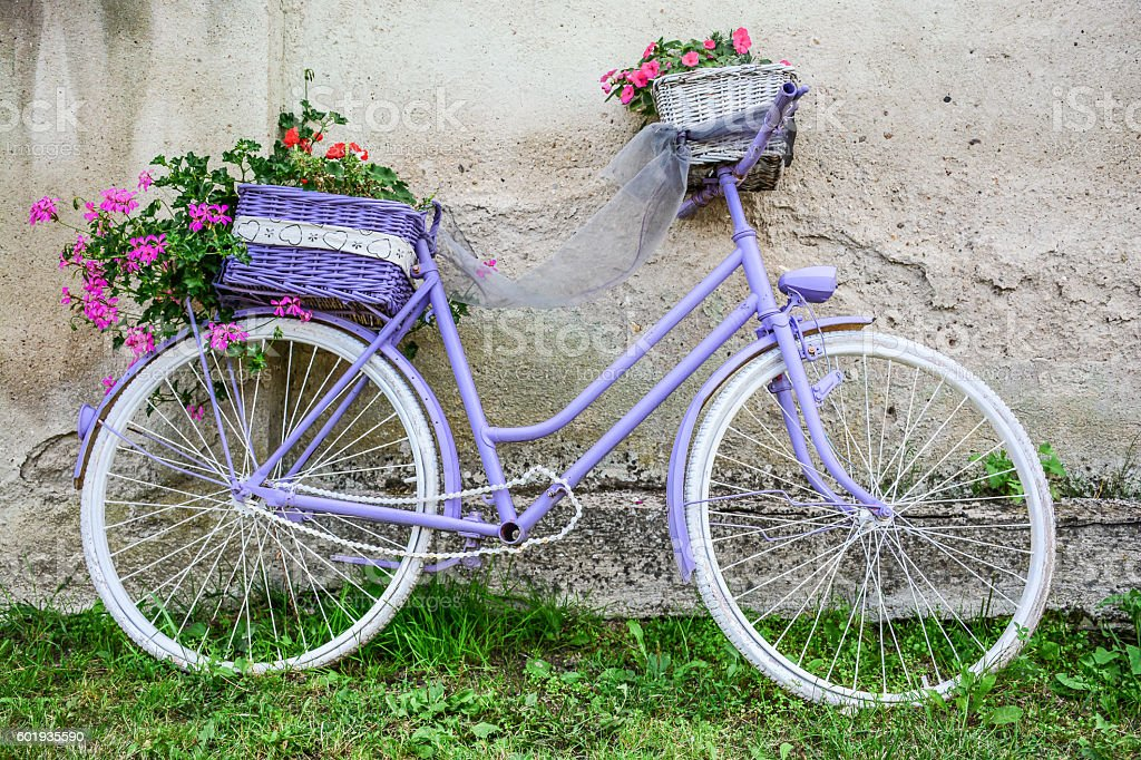 Pretty purple bicycle with ornamental flowers стоковое фото