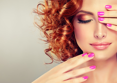 Pretty red haired girl. stock photo