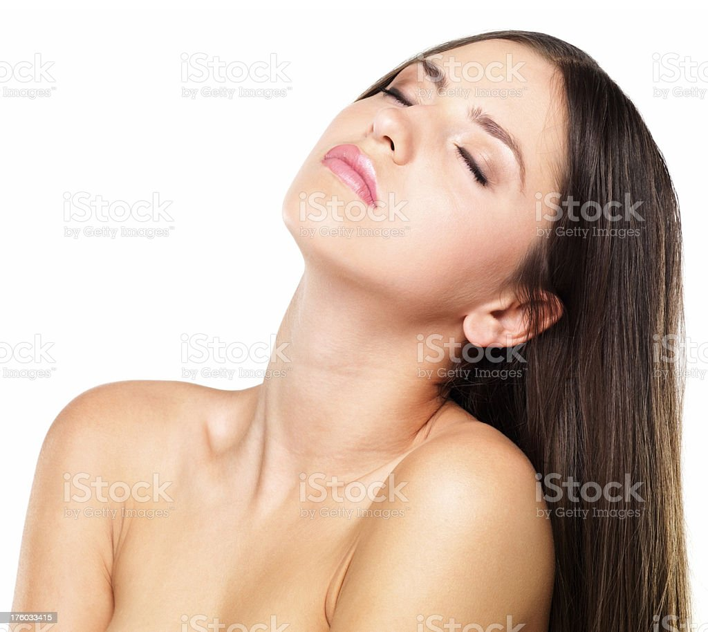 Pretty relaxed woman with eyes closed stock photo