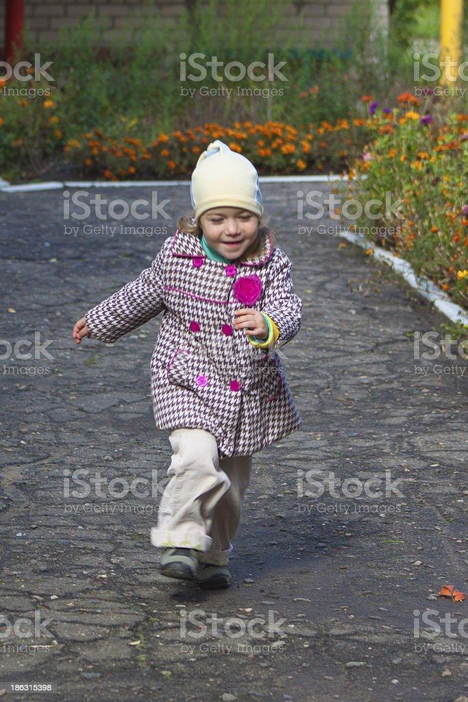 pretty running girl royalty-free stock photo