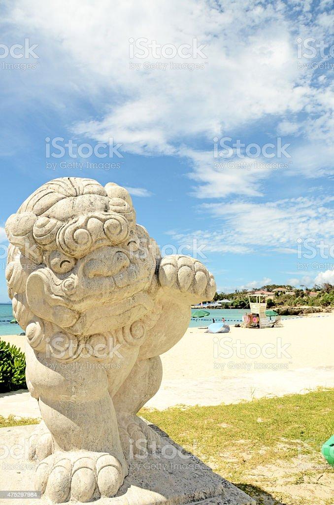 Pretty Shisa in Onna Beach, Okinawa, japan stock photo
