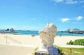 可愛らしいシーサーラオビーチで、日本、沖縄県