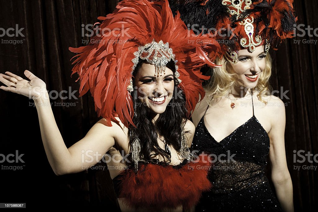Pretty Show Girls Waving to their Adoring Crowd stock photo