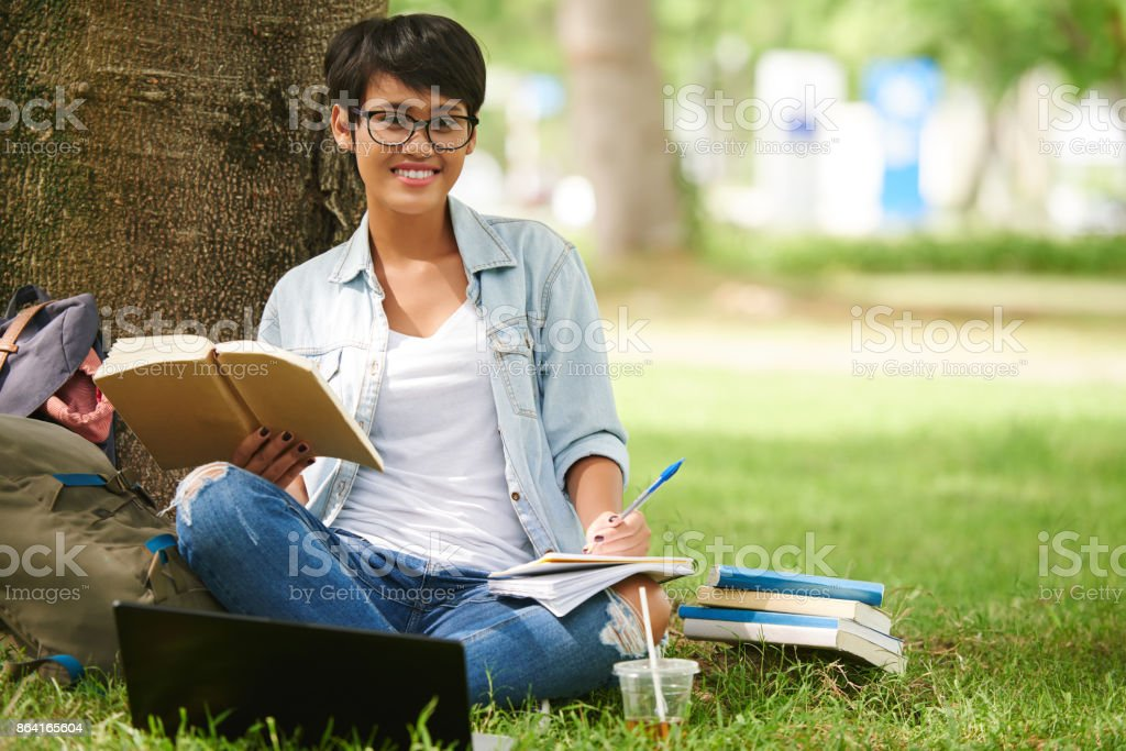 Pretty smart student royalty-free stock photo