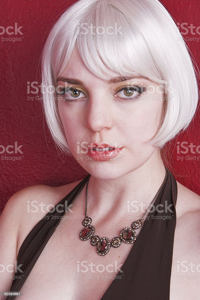 Pretty smile, gray hair and necklace royalty-free stock photo
