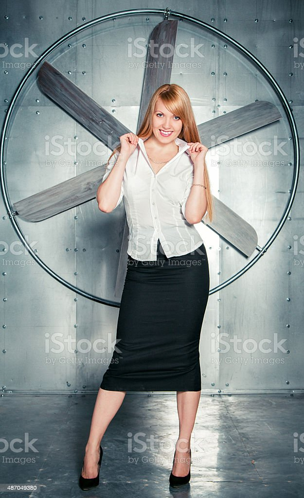 Pretty smiling woman stock photo