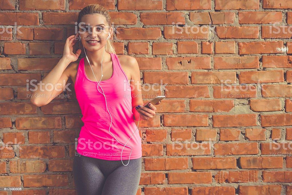 Pretty sports woman stock photo