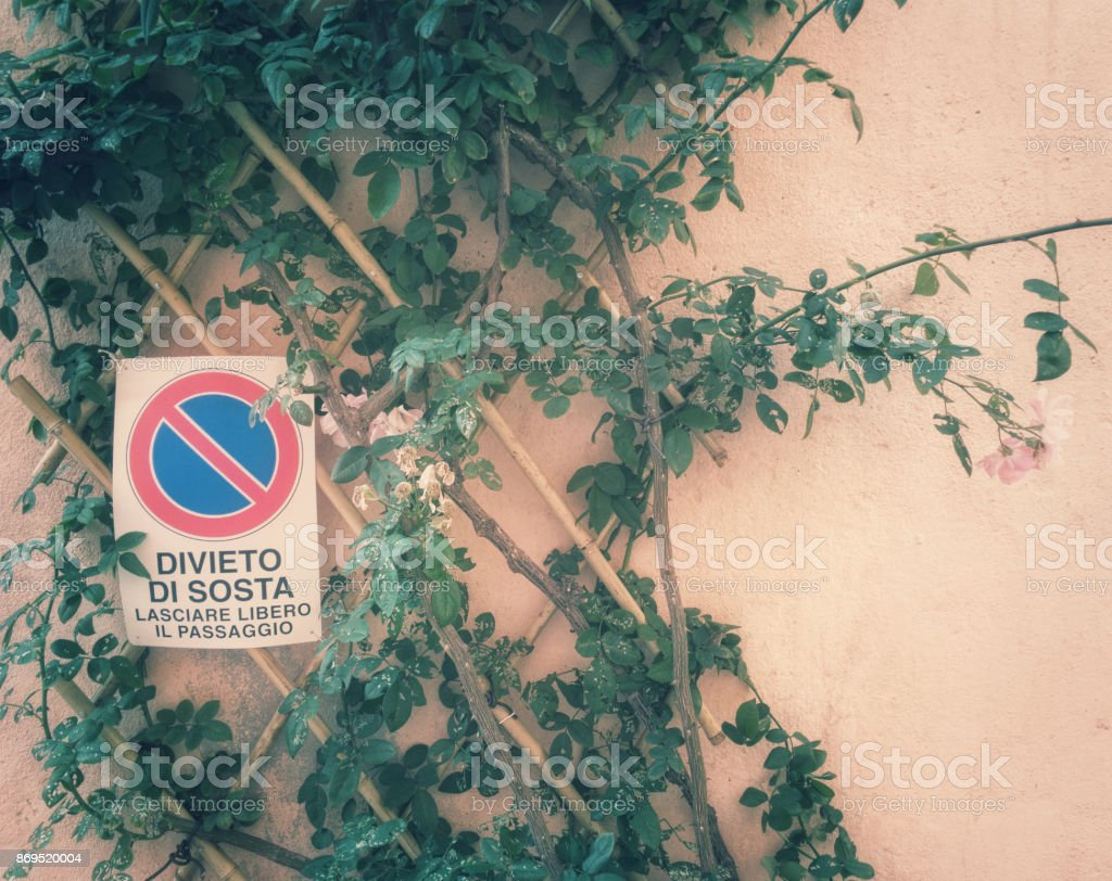 Pretty spot  for a no parking sign stock photo