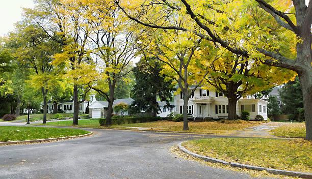 pretty street in autumn stock photo