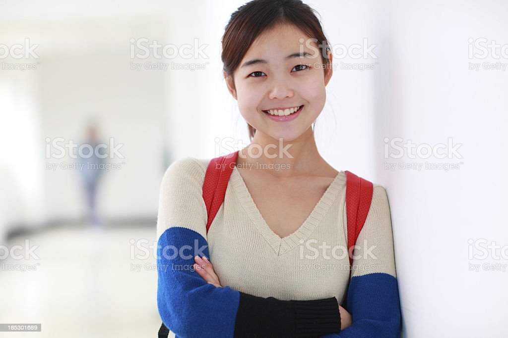 pretty teen girl looking at camera smile stock photo