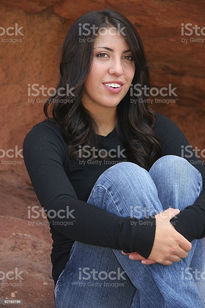 Pretty Teen Girl Portrait in Black Shirt and Jeans royalty-free stock photo
