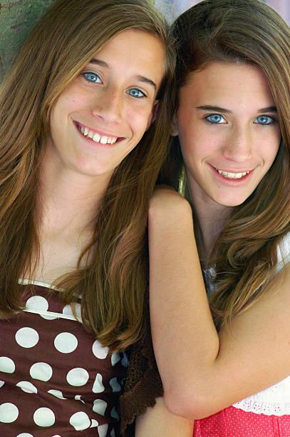 Pretty teen models stock photo