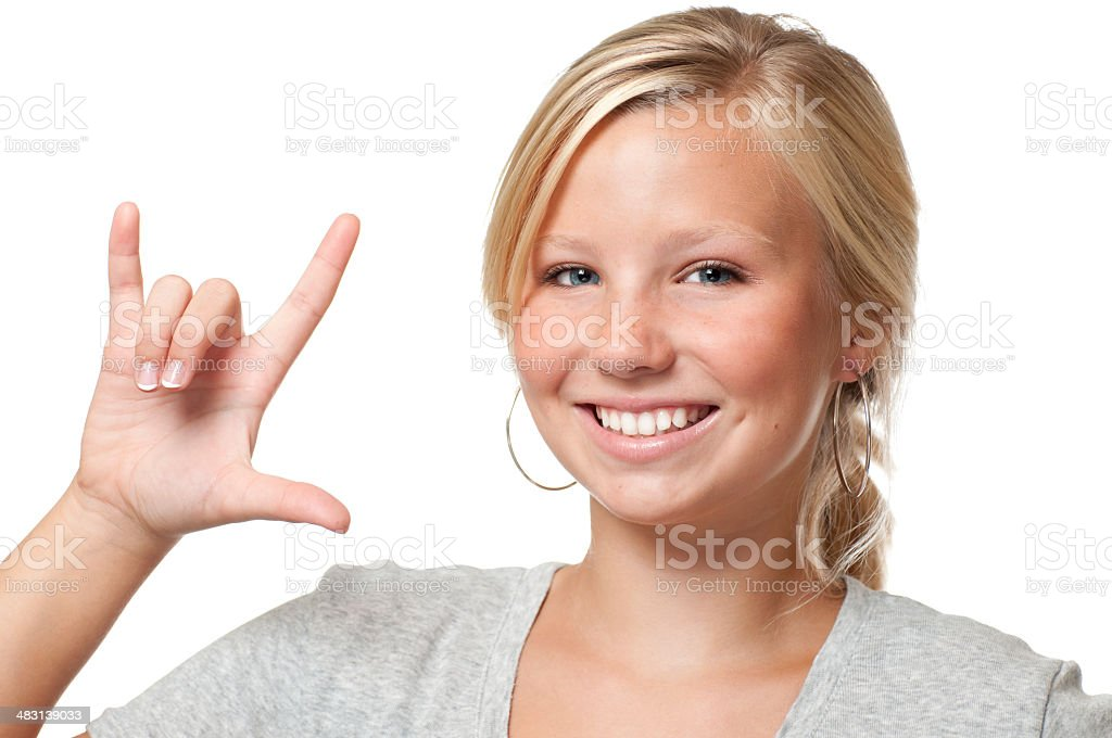 Pretty Teen Signs I love you royalty-free stock photo